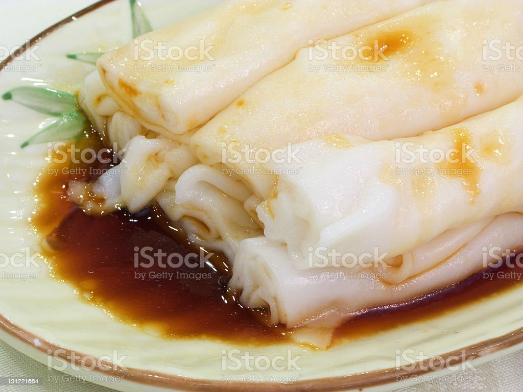 Rice sheet spring rolls with soy sauce royalty-free stock photo