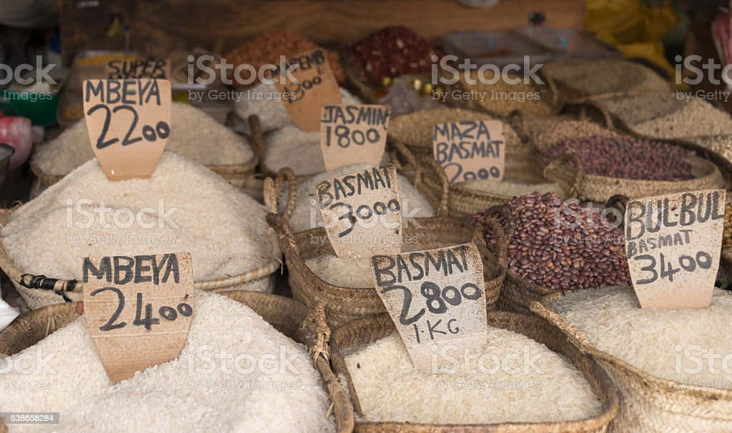 rice sorts on zanzibar market stock photo