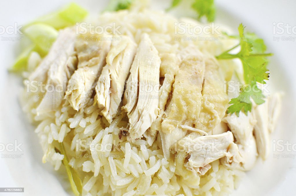 Rice steamed with chicken soup royalty-free stock photo