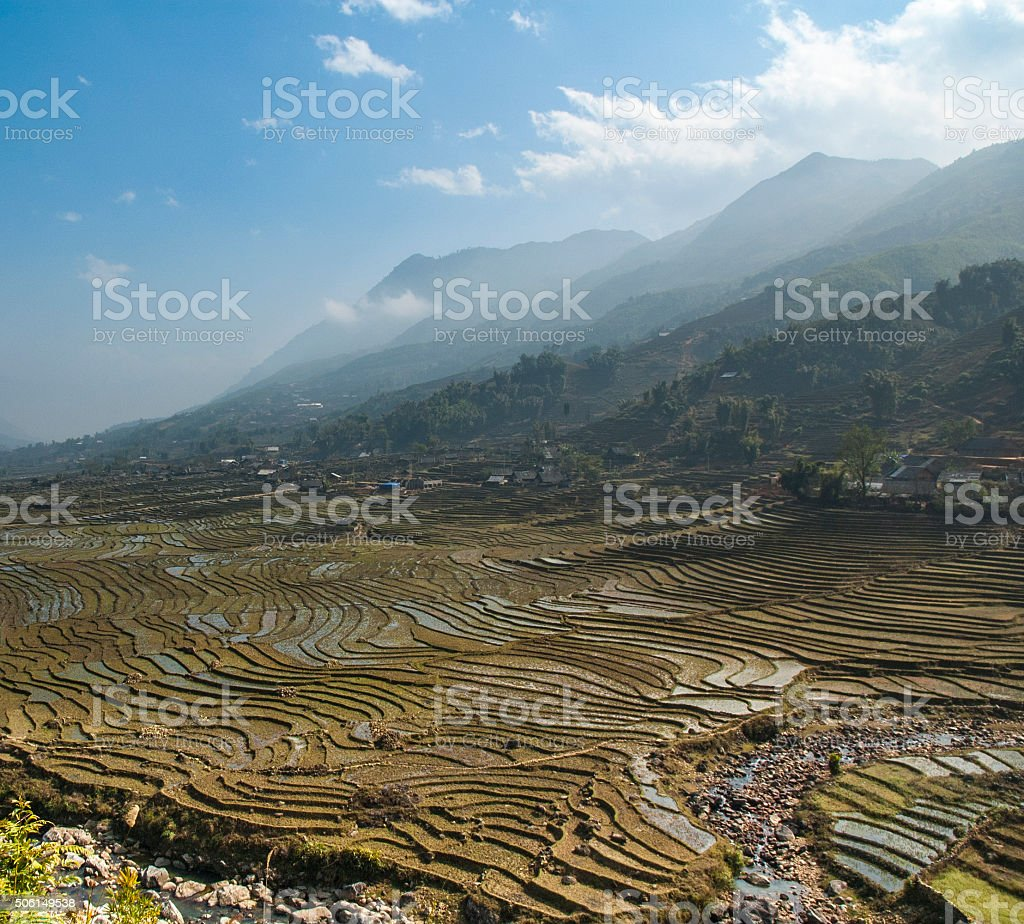 Rice Terraces In A Mountainous Landscape Near Sapa In Vietnam stock photo