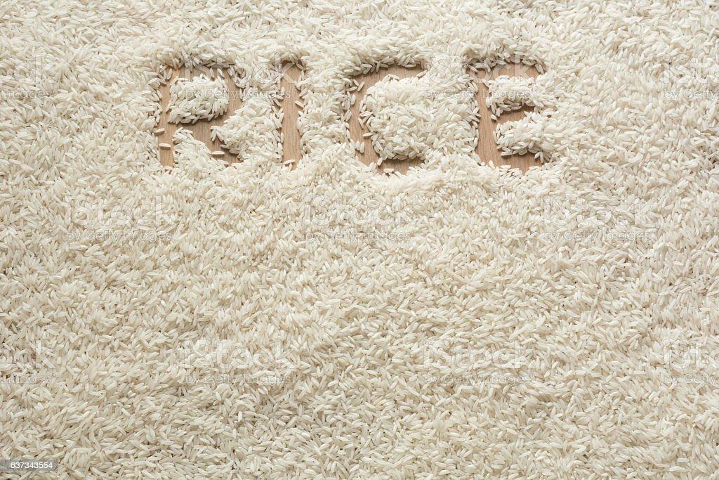 Rice texture wirg 'rice' writing. stock photo