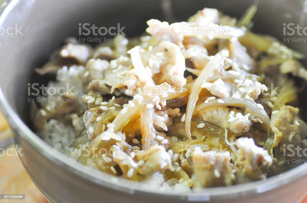 Rice topped with stir-fried pork  in Japanese food or Korean food stock photo