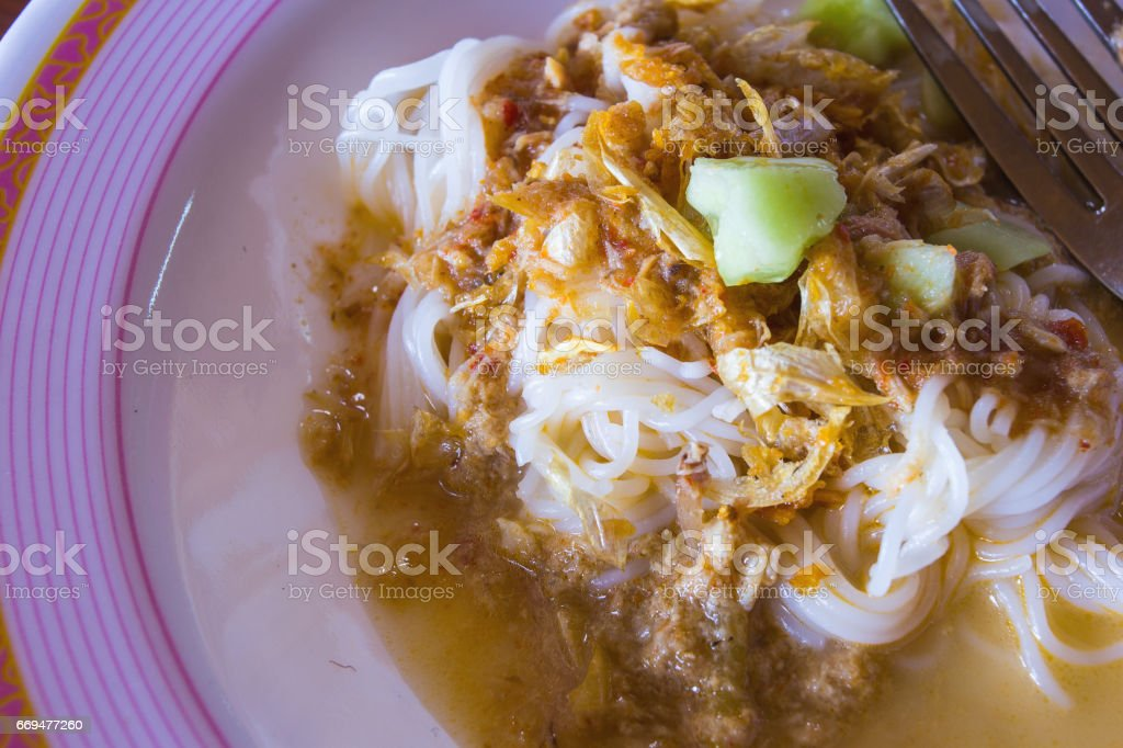 Rice vermicelli with curry and vegetable. stock photo
