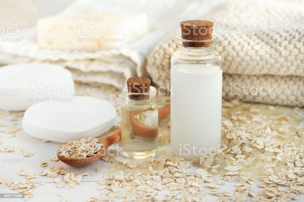Rice water and oat flakes facial cleanser. stock photo