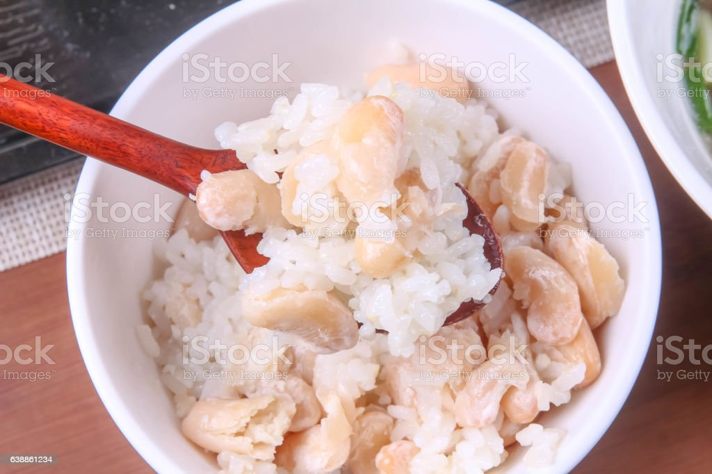 rice with beans stock photo