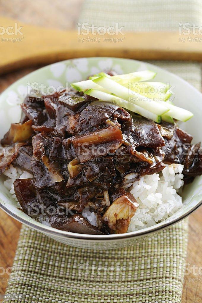 Rice with Black Bean Sauce stock photo