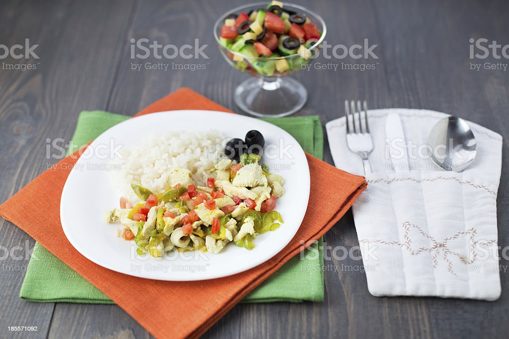 Rice with chicken and vegetables royalty-free stock photo