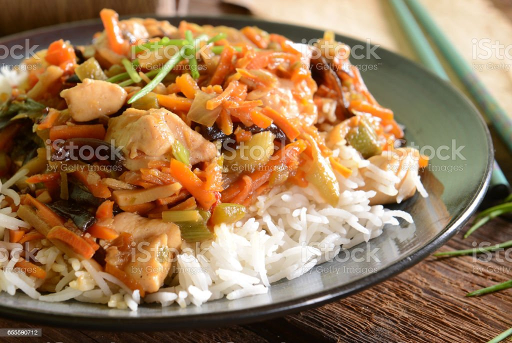 Rice with chicken stock photo