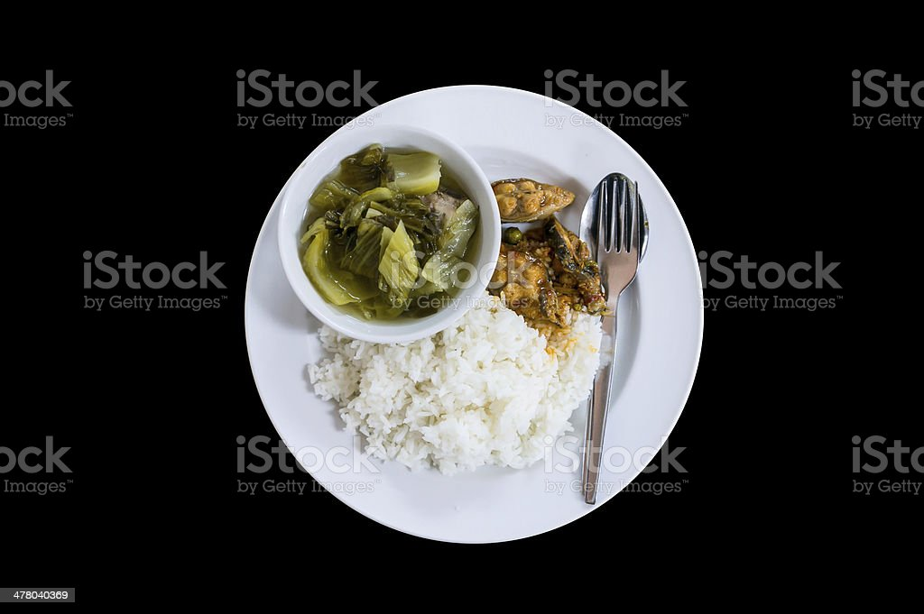 Rice with fish curry cooked pickle. royalty-free stock photo