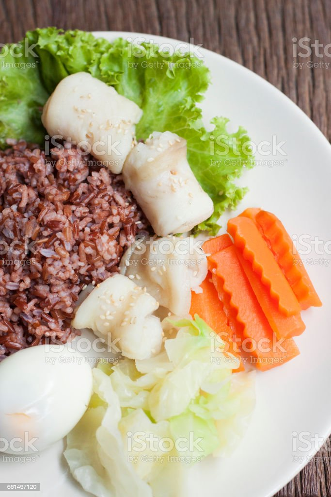 Rice with Fish steamed stock photo