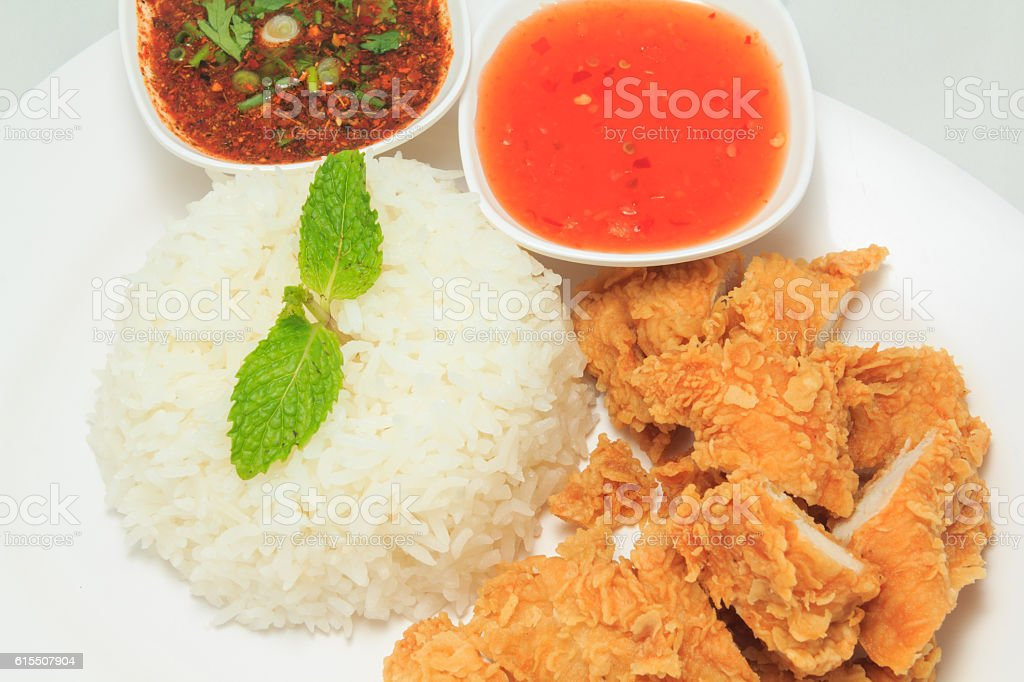 Rice with fried chicken stock photo