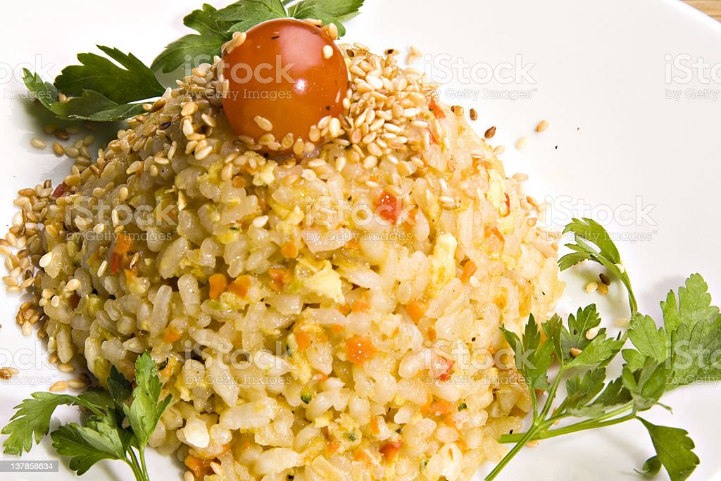 Rice with grilled vegetables royalty-free stock photo
