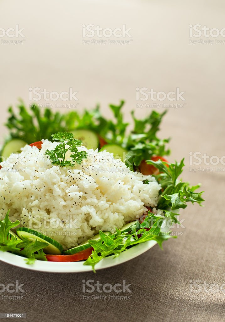 Rice with lettuce royalty-free stock photo