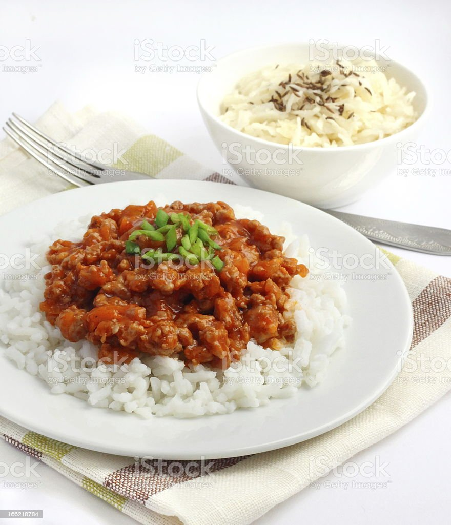 Rice with minced meat and tomato sauce royalty-free stock photo