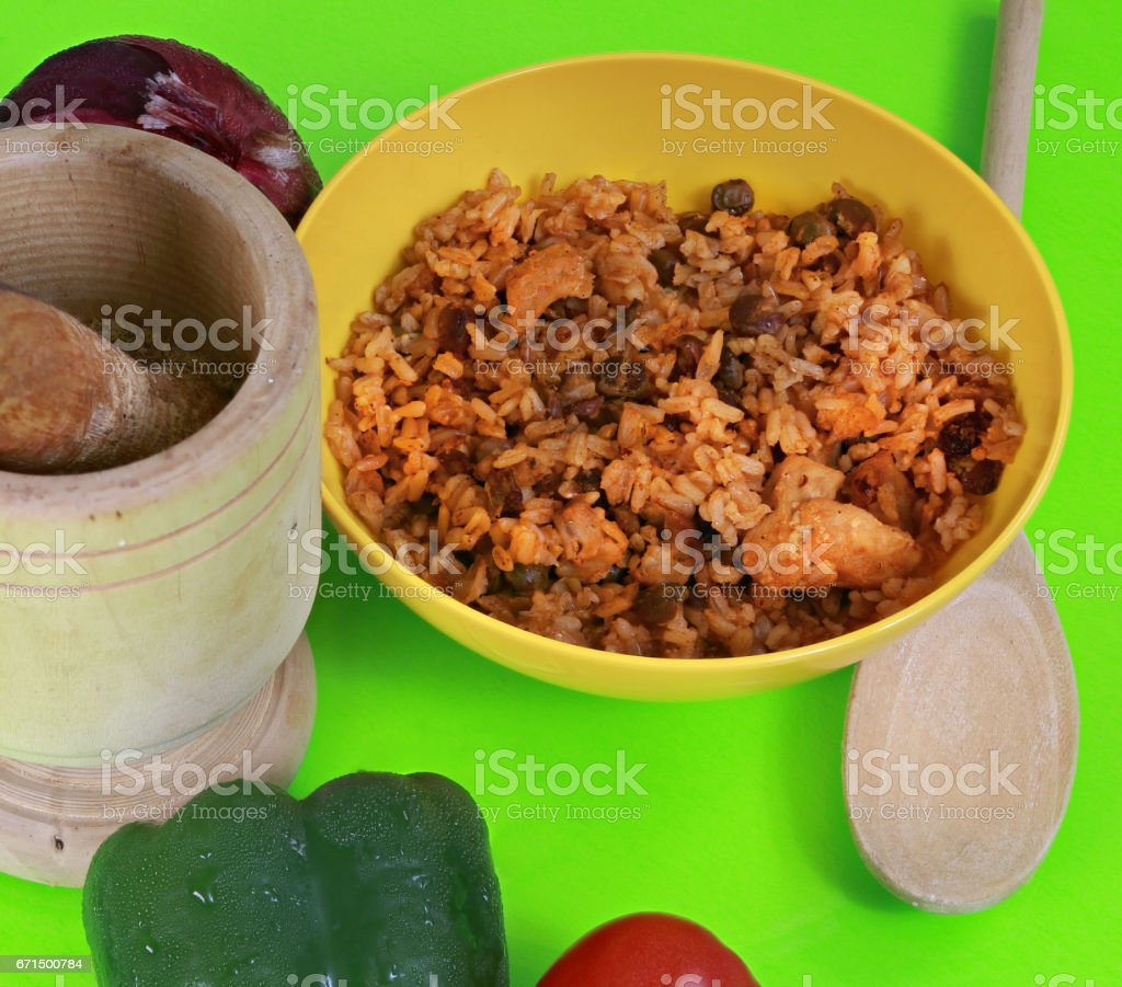 Rice with pigeon peas on a table stock photo