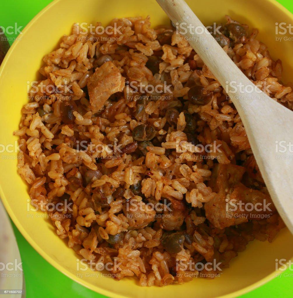 Rice with pigeon peas stock photo