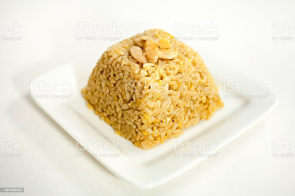rice with saffron and almond stock photo