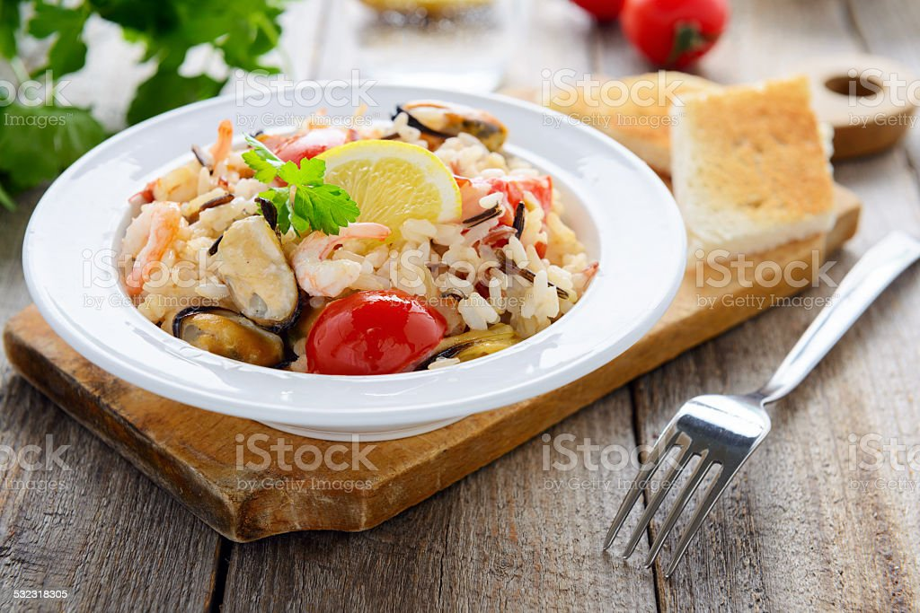 Rice with seafoods stock photo