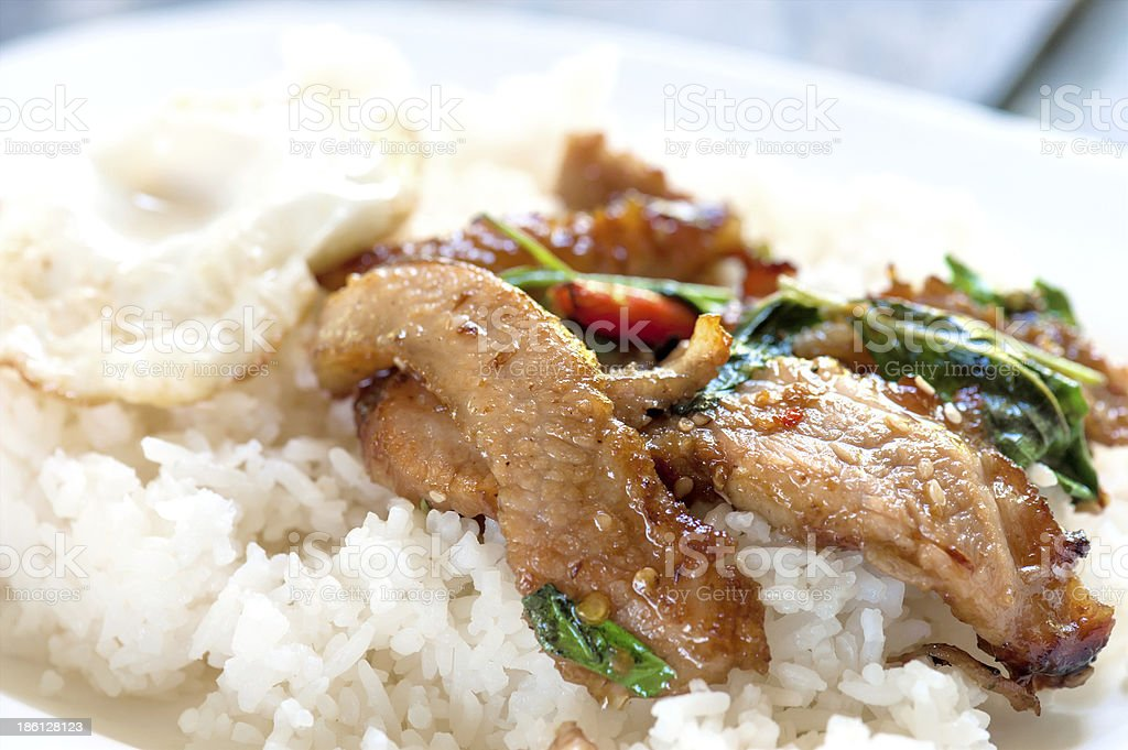 Rice with stir fried royalty-free stock photo