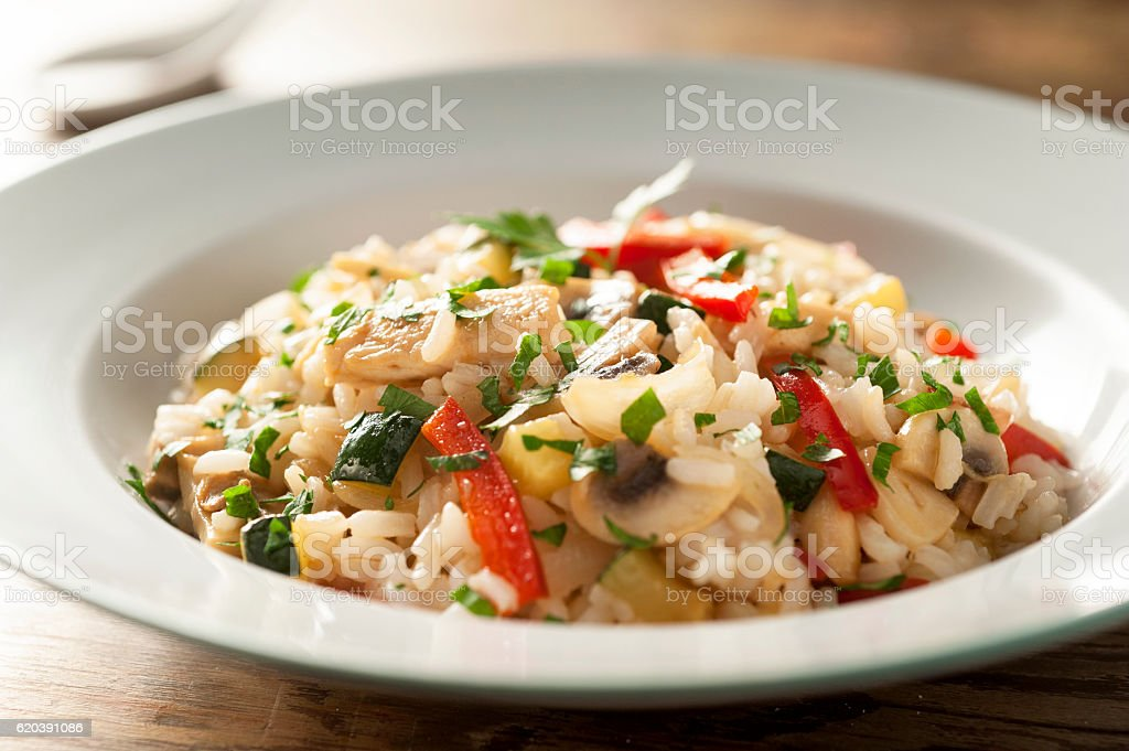 rice with vegetables and chicken stock photo