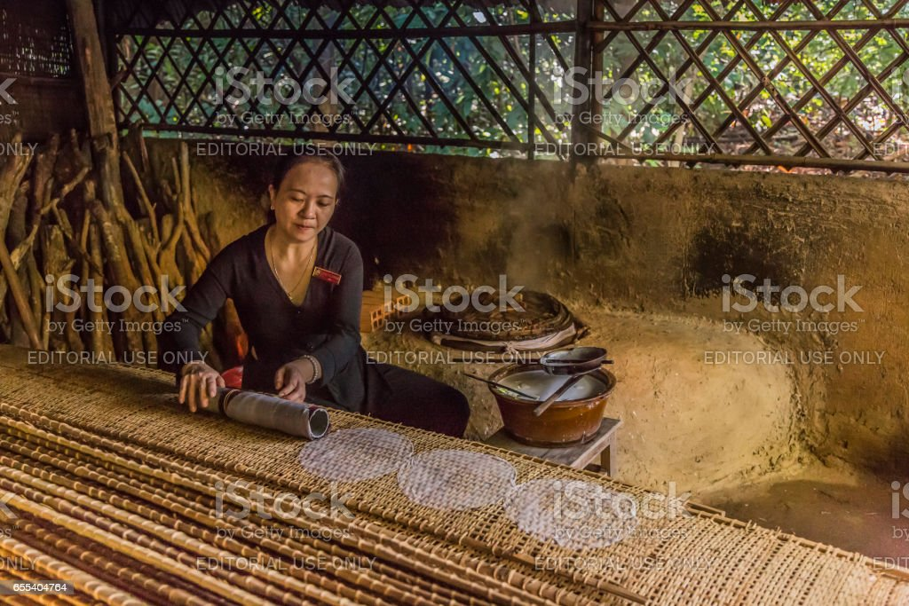 Ricepaper production, Vietnam stock photo