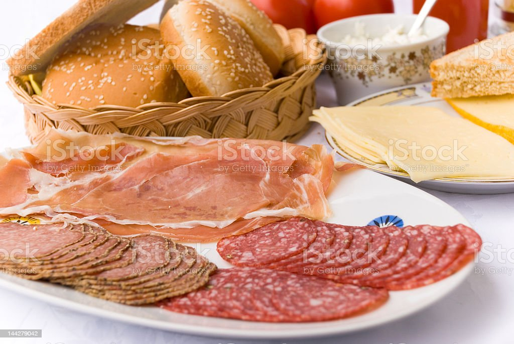 Rich Breakfast with Prosciutto,Ham,Salami royalty-free stock photo