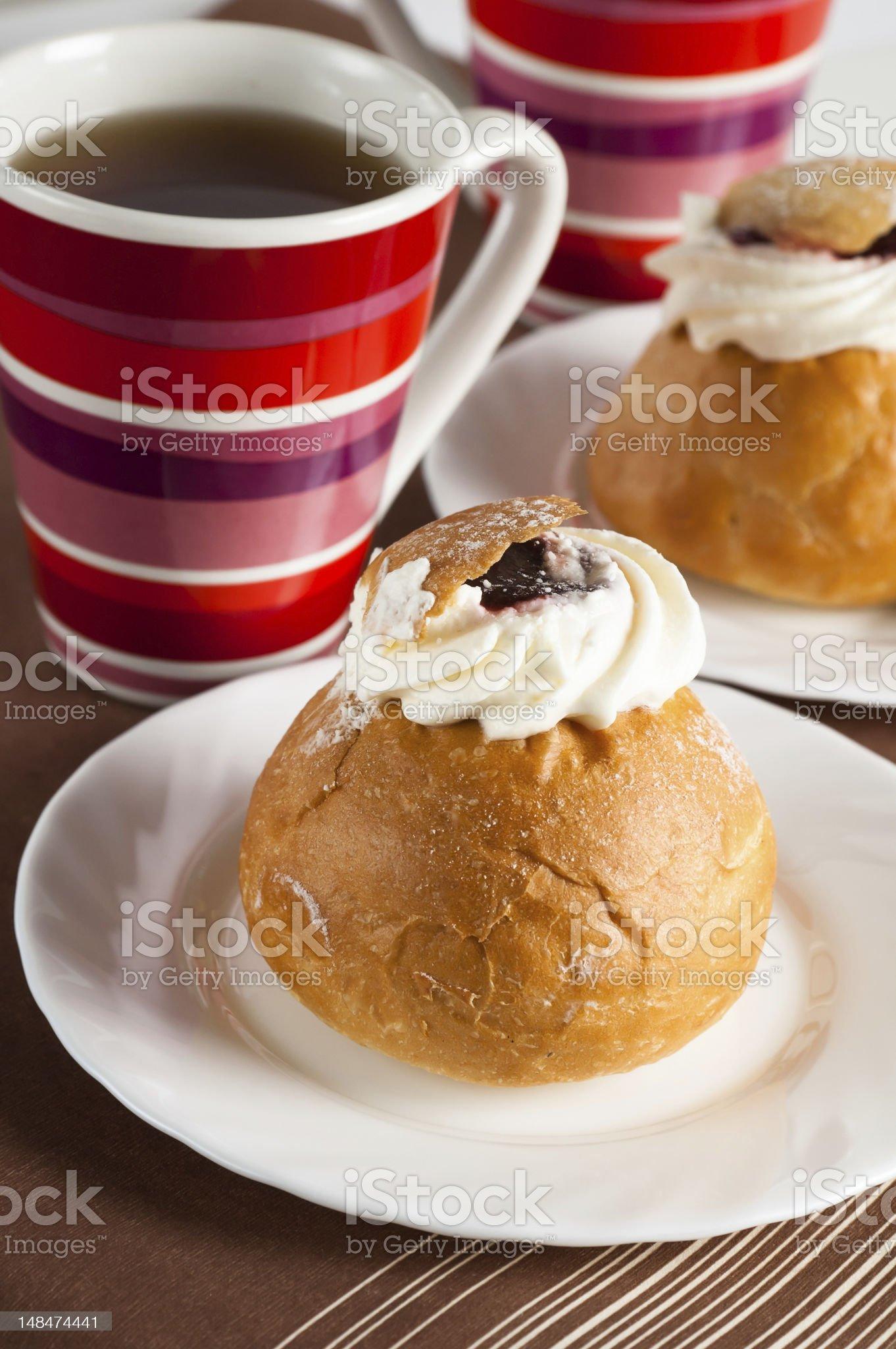 Rich bun with a cream royalty-free stock photo