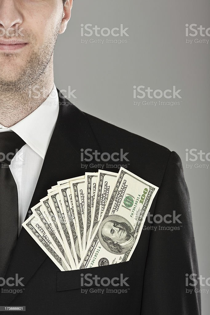 rich businessman keep dollar money in manager suit royalty-free stock photo