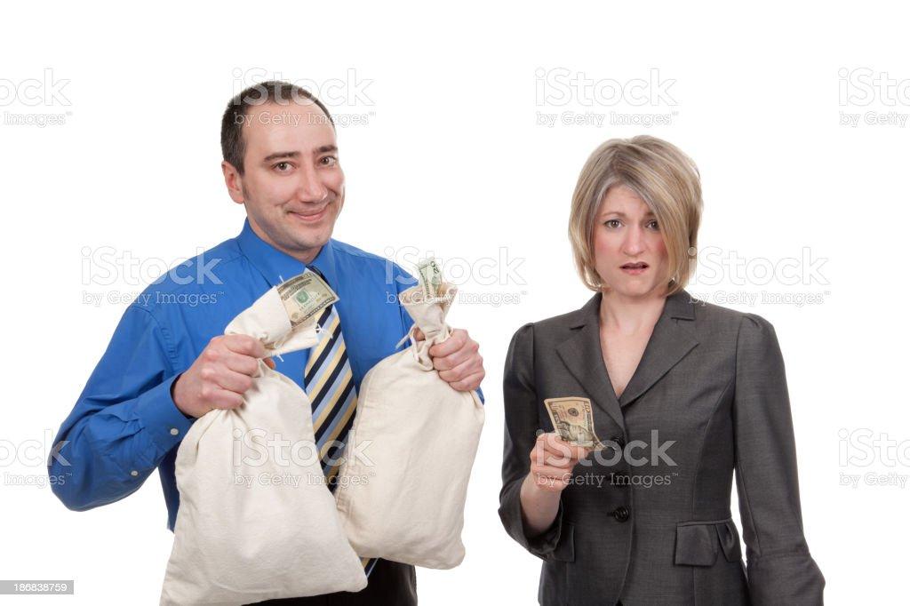Rich Businessman Poor Businesswoman stock photo