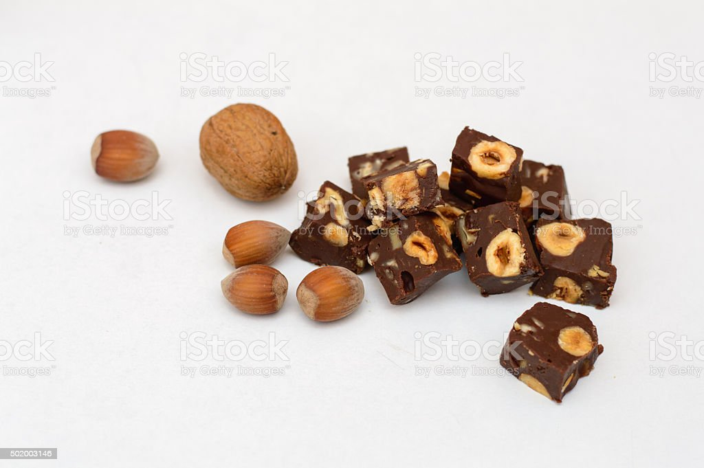 Rich Chocolate Fudge with nuts stock photo