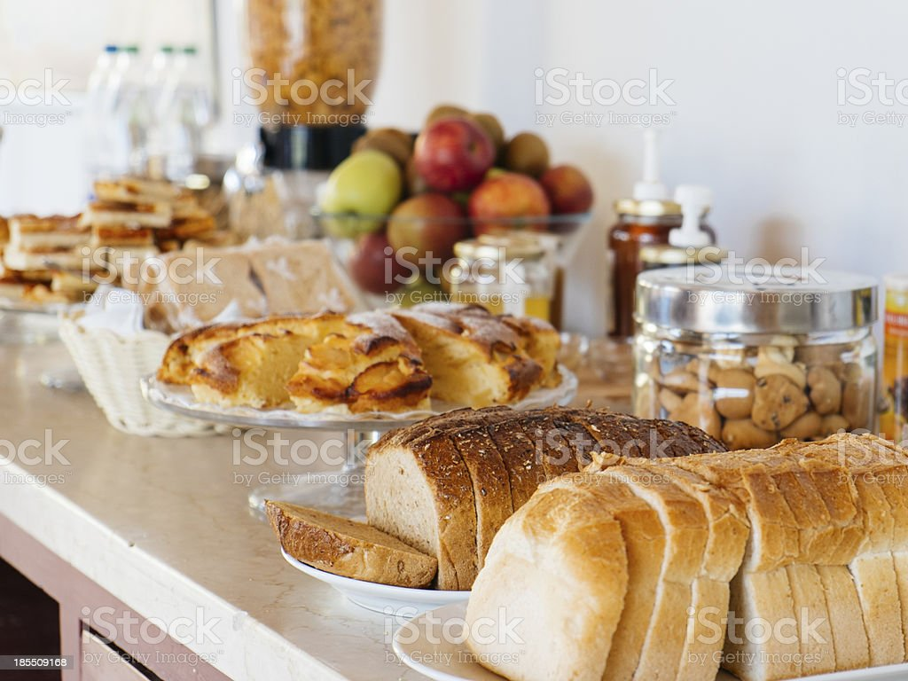 Rich continental breakfast stock photo