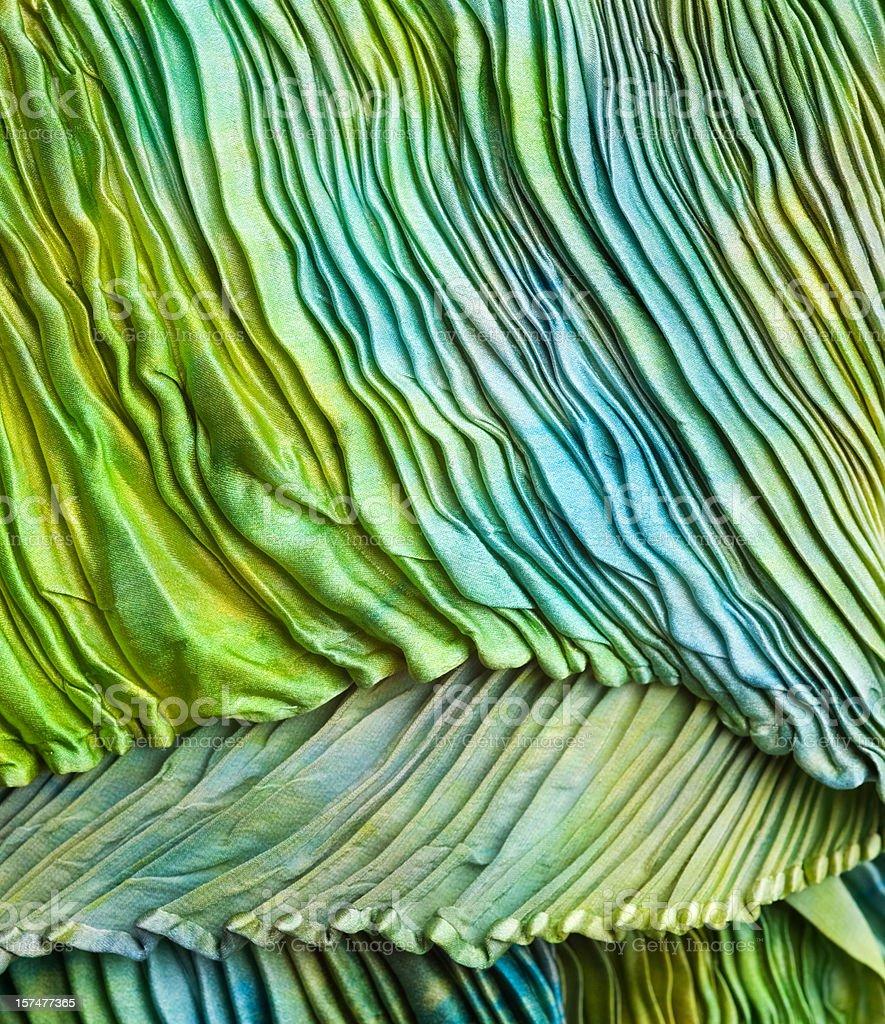 Rich Green Cyan Shibori Silk Scarf Textured Background, Pleated, Rippled stock photo