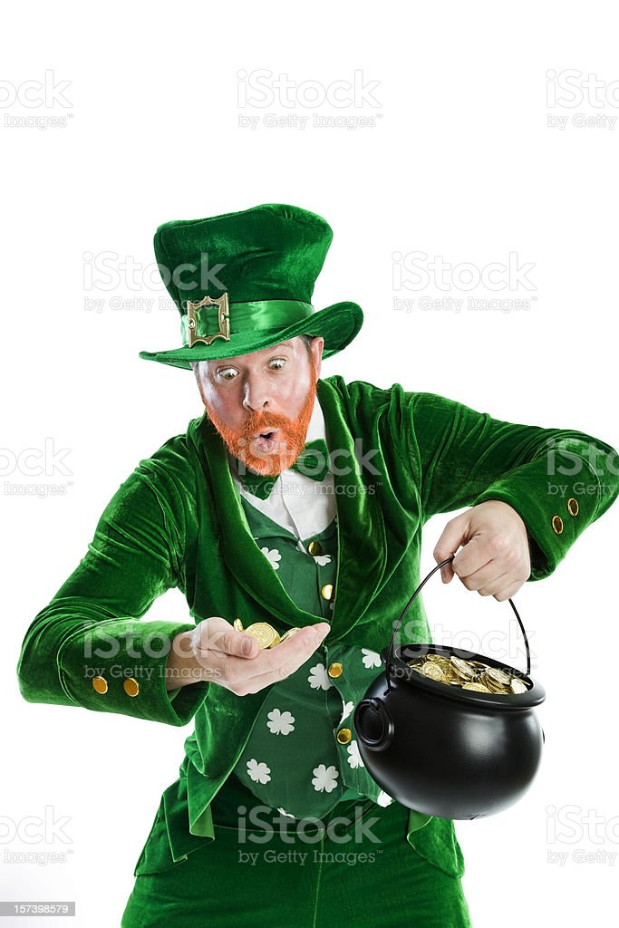 Rich Leprechaun stock photo