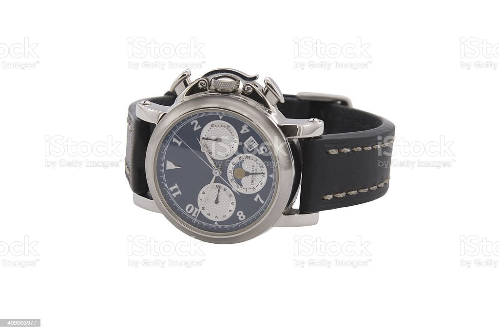 Rich silver chronograph watch in white background stock photo