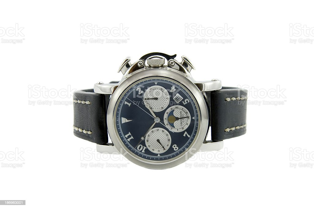Rich silver chronograph watch with sapphire glass in white backg stock photo