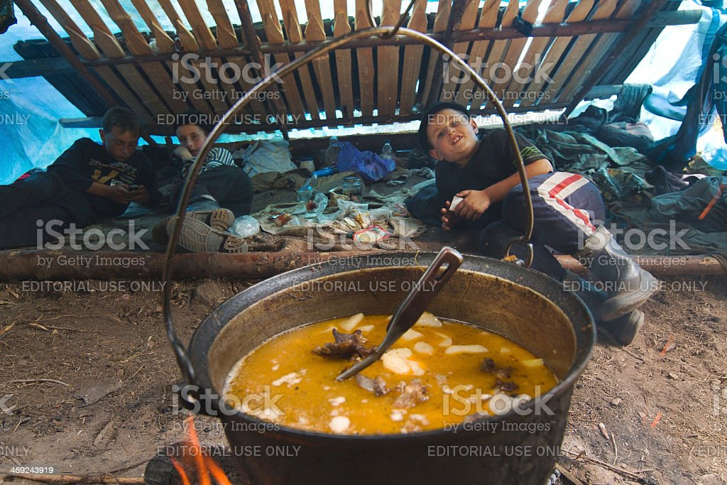Rich soup in a large pot ready royalty-free stock photo