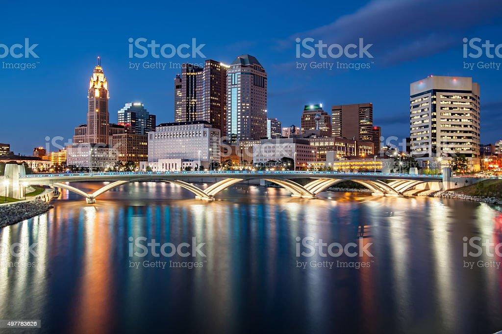 Rich Street Bridge Scioto River Downtown Columbus Ohio Skyline HDR stock photo