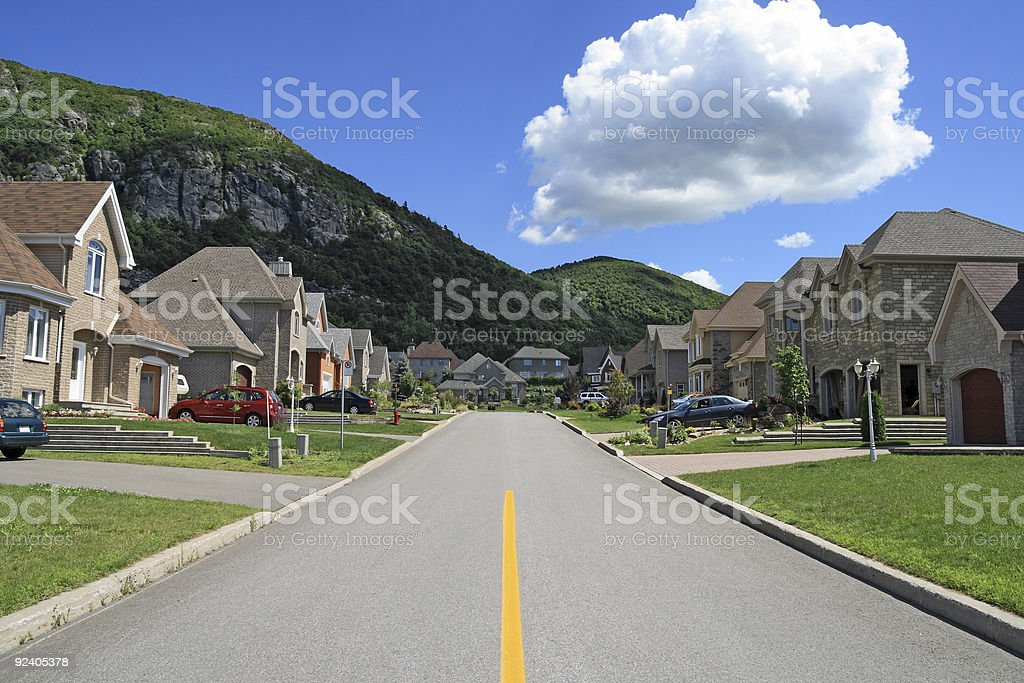 Rich suburban neighborhood near the mountain royalty-free stock photo