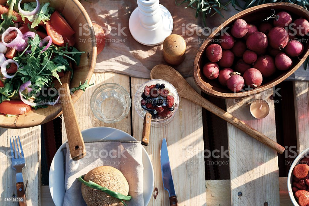 Rich table with dishes stock photo