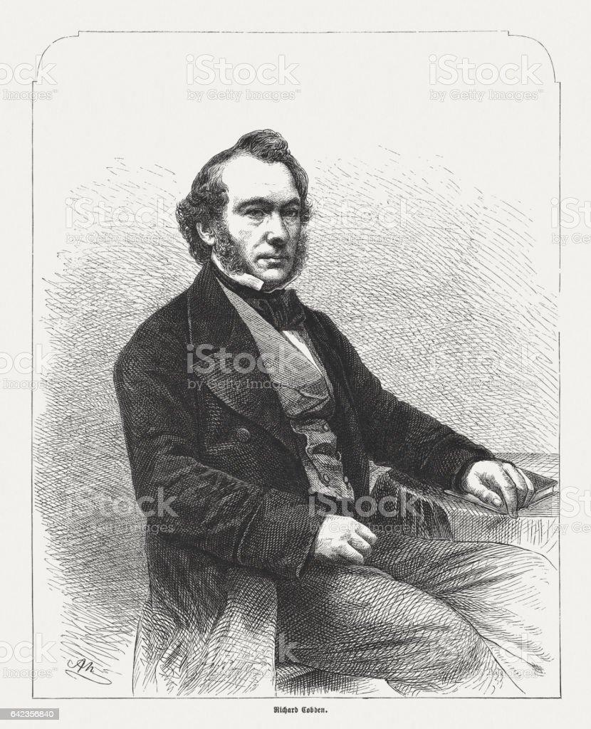 Richard Cobden (1804-1865), British manufacturer, wood engraving, published in 1865 stock photo