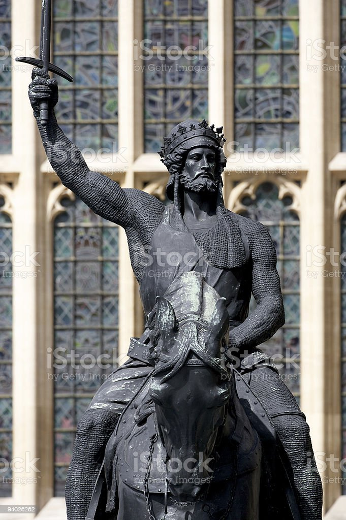Richard I Equestrian Statue outside Houses of Parliament, London stock photo
