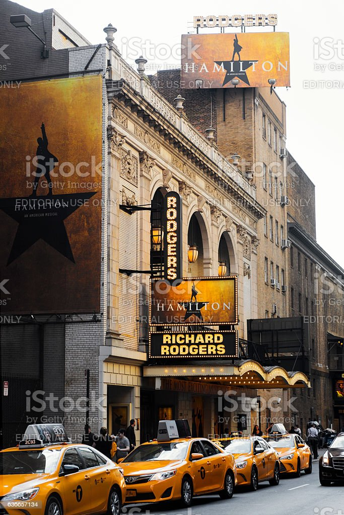 Richard Rodgers Theatre Hosting the Hamilton Musical stock photo