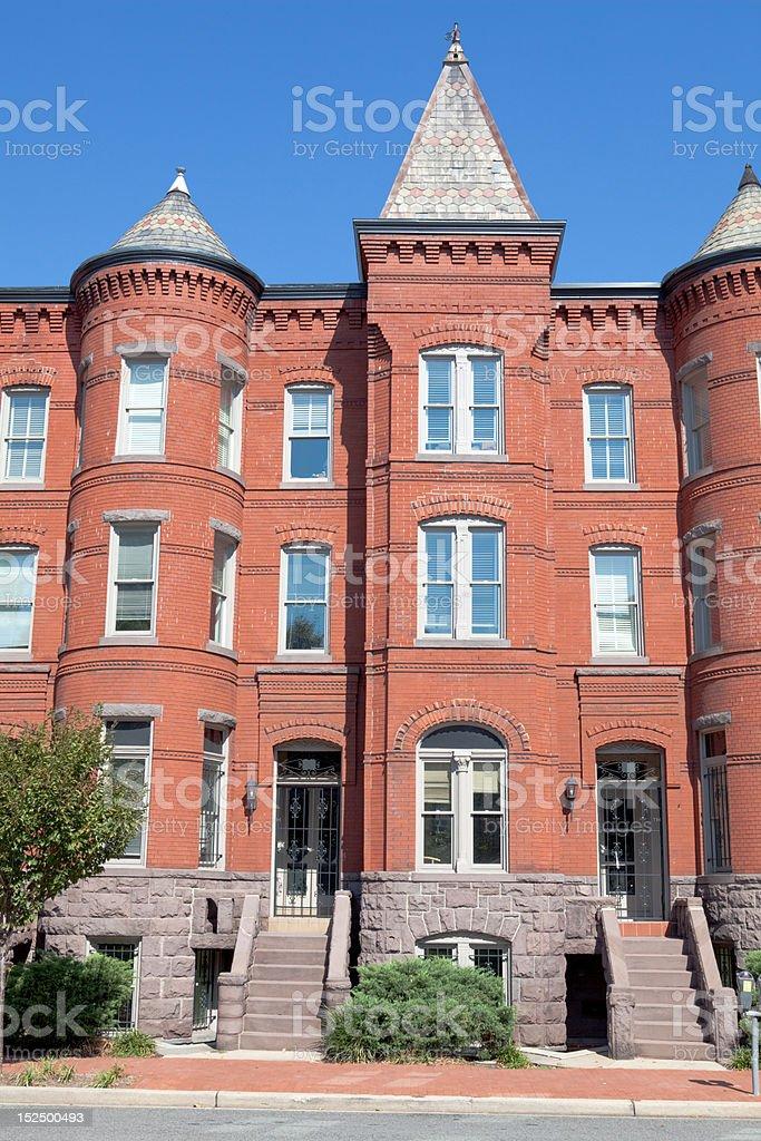 Richardsonian Romanesque Style Brick Row Homes Capitol Hill, Washington DC royalty-free stock photo