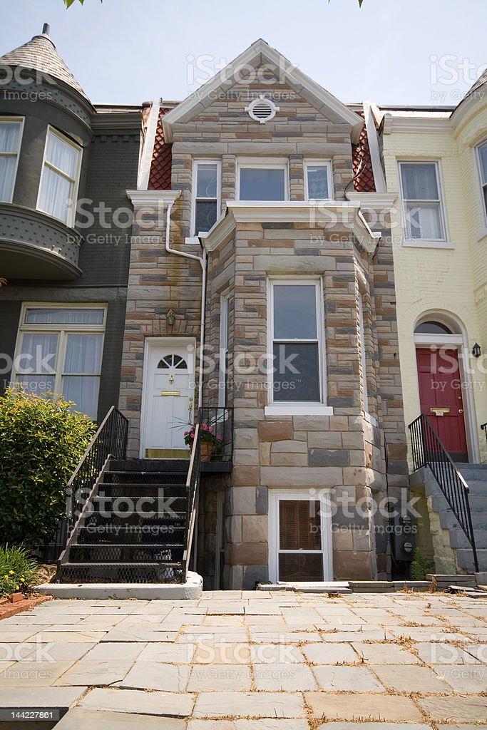 Richardsonian Romanesque Style Row House Home Formstone, Washington DC royalty-free stock photo
