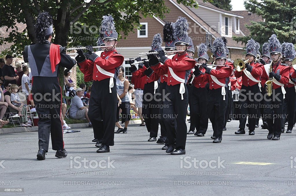 Richfield High School Marching Band Performing in a Parade royalty-free stock photo