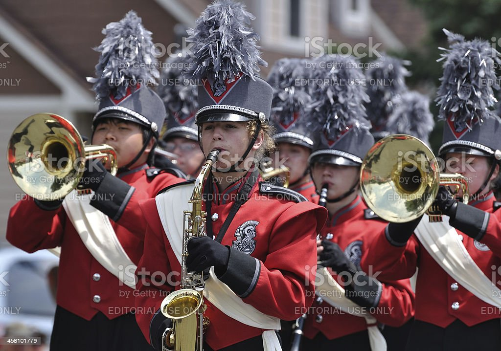 Richfield High School Marching Band Performing in a Parade stock photo