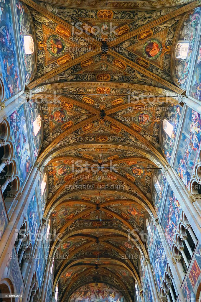 Richly decorated ceiling of the cathedral in Parma, Italy stock photo