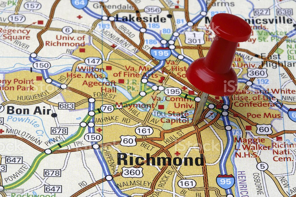 Richmond on a Map royalty-free stock photo