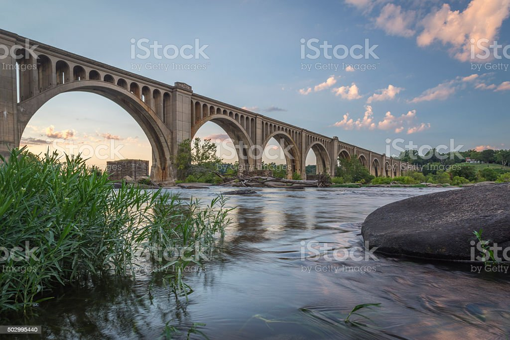 Richmond Railroad Bridge Crossing the James River stock photo