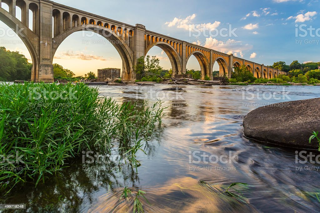 Richmond Railroad Bridge over James River stock photo